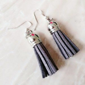 GRAY SUEDE TASSEL BOHO EARRINGS